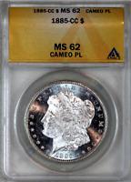 * 1885-CC * MS62 CAMEO PL ANACS * PROOF-LIKE MORGAN SILVER DOLLAR *