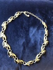 VINTAGE COSTUME JEWELLERY TRIFARI STAMPED BRUSHED GOLDTONE NECKLACE. BLACK INSET