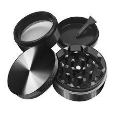 Black 4 Piece 50mm 2 inch Metal Alloy Cigarette Tobacco Herb Grinder Magnet Top