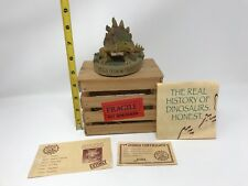 Vintage Resin Mesozoic Dinosaur Pet Stanley The Pet Stegosaurus With Wood Crate