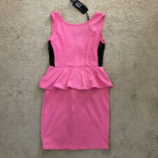 NWT ASOS Club L Pink Black Sheer Lace Side Panel Peplum Bodycon Dress S 6 UK 10