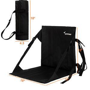Portable Stadium Chair Padded Seat Cushion Folding Bleacher Seatback Pocket