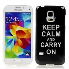 Samsung Galaxy s5 Mini portable silicone case Housse étui Keep Calm Carry On Black