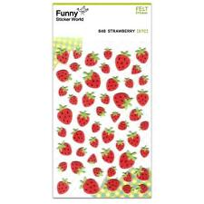 CUTE STRAWBERRY FELT STICKERS Fruit Kawaii Sticker Sheet Craft Scrapbook NEW Red