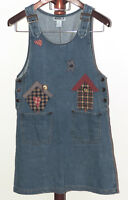 Haiks sz M Cotton Denim Overall Jumper Dress Birdhouse Applique