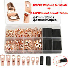 260pcs Copper Ring Cable Lug Terminal Wire Crimp Connector Heat Shrink Tubing
