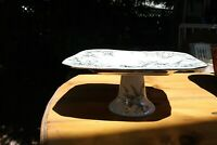 222 Fifth Porcelain Adelaide White Silver Pedestal Cake Stand Compote Birds