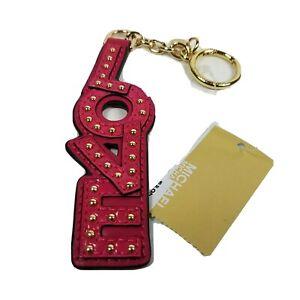 MICHAEL KORS LOVE ULTRA PINK KEY RING CHARM LEATHER STYLE 32H7GF3K30