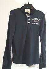 Hollister Surf Team Cotton Dark Navy Button Long Sleeve Shirt Size Medium - A025