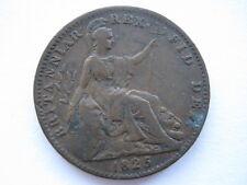 1825 Farthing, incuse ribs, F. ACS