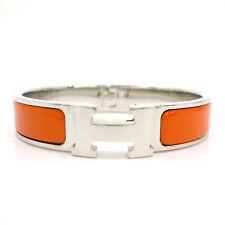 Authentic HERMES Clic Clac PM Enamel Orange Silver Tone Brass Bangle #S211083