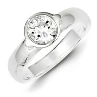 925 Sterling Silver Round Cut Bezel Set CZ Solitaire Ring Size 6 - 8