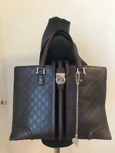 Authentic Gucci guccissima tote brown leather shoulder bag