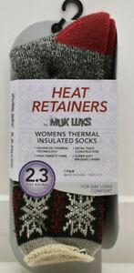 Muk Luks Womens's Thermal Insulated Socks Size 6-11 Black Grey Red Fair Isle New