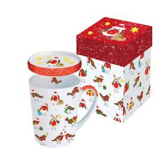PPD Mug tasse winter robin christmas Rouge gorge neige NOEL couvercle NEUF