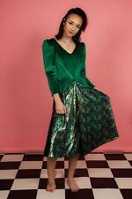 Vestido de boda 80S Vintage Metálico De Terciopelo Verde y Dama de honor/vestido de fantasía