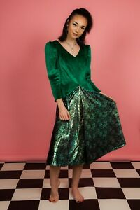 80S VINTAGE METALLIC GREEN & VELVET BRIDESMAID DRESS WEDDING/FANCY DRESS