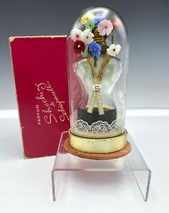 Vintage SHOCKING by SCHIAPARELLI 1 3/4 oz Perfume Bottle Glass Flowers & Dome