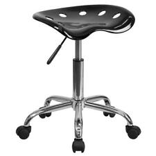 Vibrant Black Tractor Seat And Chrome Stool