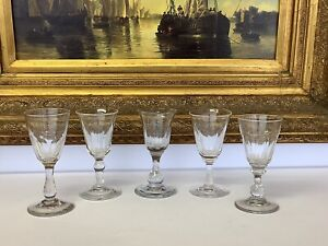 Job Lot Of 5 Mixed 19th Century Georgian/Victorian Wine Or Gin Glasses