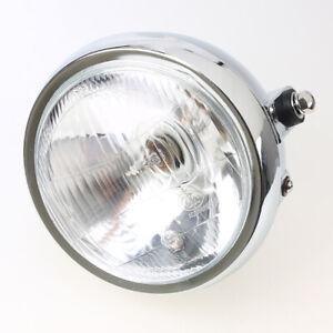 6'' Motorcycle Side Mount Round 12V Chrome Headlight Amber Light Beam Universal