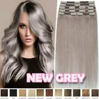 Grey Thick Weft Clip in Russian Remy Human Hair Extensions Full Head Balayage US
