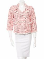 $5590 NEW CHANEL RED WHITE FANTASY Tweed SUIT JACKET BLAZER coat 40 BIG CC LOGO