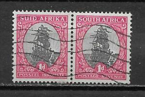 SOUTH AFRICA ,1926 , JAN VAN RIEBEEK'S SHIP , PAIR OF 1p STAMPS , PERF , USED