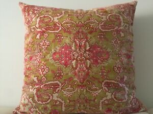 Mustard Red Paisley Floral Cotton Moroccan Gypsy Bohemian Cushion Cover 65x65 CM