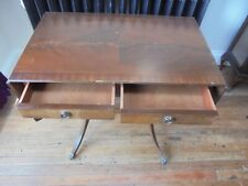 Drop Leaf Side / Hall Table on Casters. 2 Side Drawers. Dark wood Collect Derby