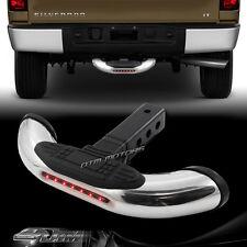 "1.25""/2"" Receiver Chrome Tow Trailer Hitch Cover Back Step Bar + LED Brake Light"