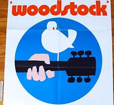 WOODSTOCK 1971 ORIGINAL GERMAN MOVIE POSTER JIMI HENDRIX PEACE LOVE HIPPIE RARE
