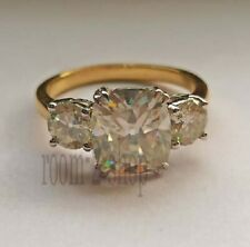2.15 CT Off White Cushion Old Mine Moissanite Engagement Ring 10k Two Tone Gold