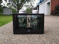 Mason Jar Salt & Pepper Shakers with Caddy Holder Vintage Antique Style Brown