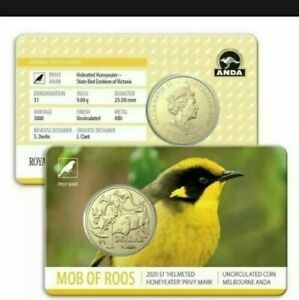 "2020   $1 Mob Of Roos ""Honeyeater"" Privy Mark Melbourne ANDA Show"