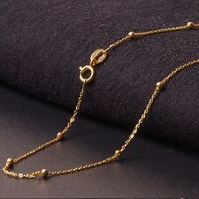 """Real 18k Yellow Gold Necklace Women Lucky O With Smooth Bead Link Chain 15.7"""" L"""