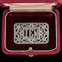 Antique Vintage Deco Sterling Silver Rhodium Monogrammed Marcasite Brooch Pin