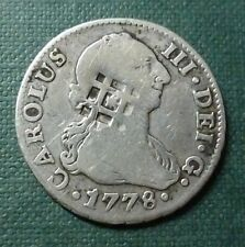 SPAIN (TRINIDAD) SILVER COIN 2 Reales, KM1.1, VF, 1778(1841) - Countermarked