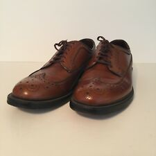 Vintage Sears Mens Brown Walnut Pebbled Leather Brogue Long Wingtips Size 10 D