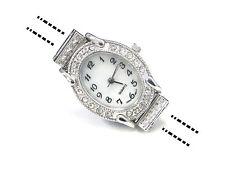 Oval Watch Face Fancy Silver Plated Rhinestone 24x30 mm DIY Jewelry Craft Making