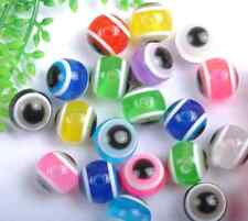 100pcs Mixed color Acrylic evil eyes  beads Findings 10MM SH1058 free ship
