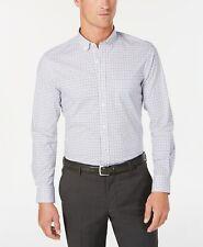 Club Room Men's Micro-Windowpane Performance Shirt, Bright White, XL