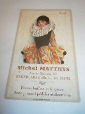 Belgique : Carte pub Piano buffet à queue Michel Matthys Bruxelles 1920
