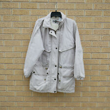 Outbrook Womens M Anorak Jacket Beige Fleece Lined Placket Button Barn Coat