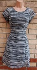H&M WHITE BLACK TRIBAL AZTEC CHIFFON A LINE SKATER ETHNIC TEA RARE DRESS 10 S