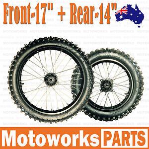 """70/100 - 17"""" + 90/100 - 14"""" Inch Front Rear Back Wheel PIT PRO Trail Dirt Bike"""