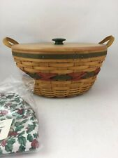 Longaberger 1999 Holiday Hostess Pinecone Basket Combo w Lid Traditional Holly