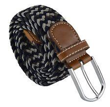 Unisex Mens Womens Boys Stretch Elastic Faux Leather Grey Navy One Size Belt