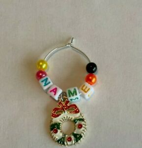 Christmas Wine Glass Charms Personalised Names  - White Tiles Colourful Letters