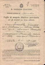 MONESIGLIO CUNEO FOGLIO DI CONGEDO ILLIMITATO  CEVA 1939 4-194